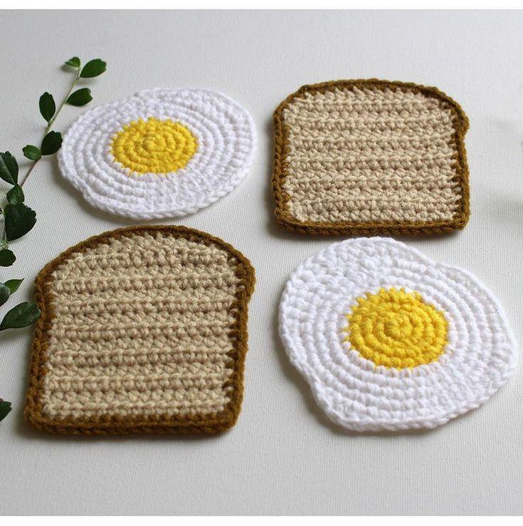 Fried Egg and Toast Coaster Set Crochet Breakfast Coaster