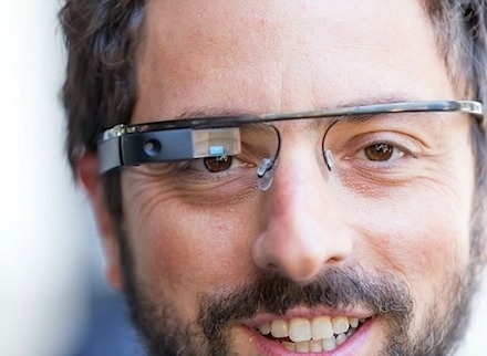 Google's Sergey Brin wear's his 'Google glasses' aka 'Project Glass'. Click for video
