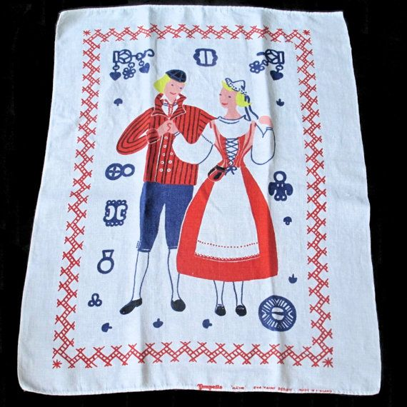 "CHARMING FINNISH TEA towel, vintage vinen towel with 2 people in traditional folk attire from Finland / by Tampella Eva Taimi design, ""Häme"""