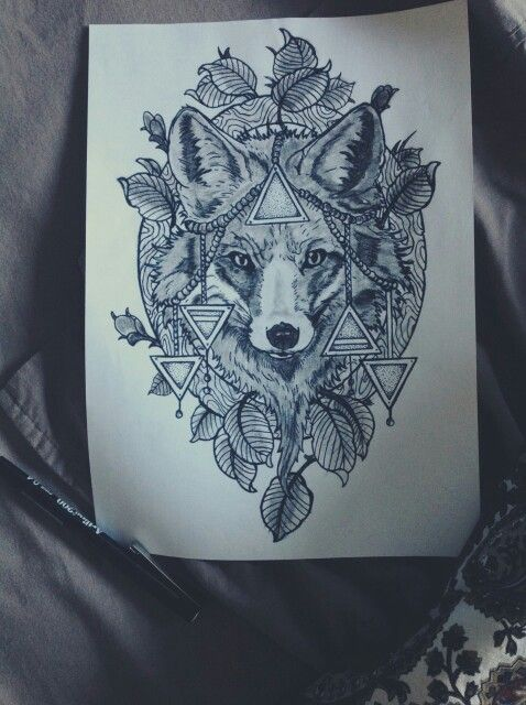 Wolf Tattoo. Too bad from all the triangles, fucking up the design..
