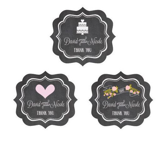 Rustic Wedding Labels  - Personalized Chalkboard Labels by Mod Party
