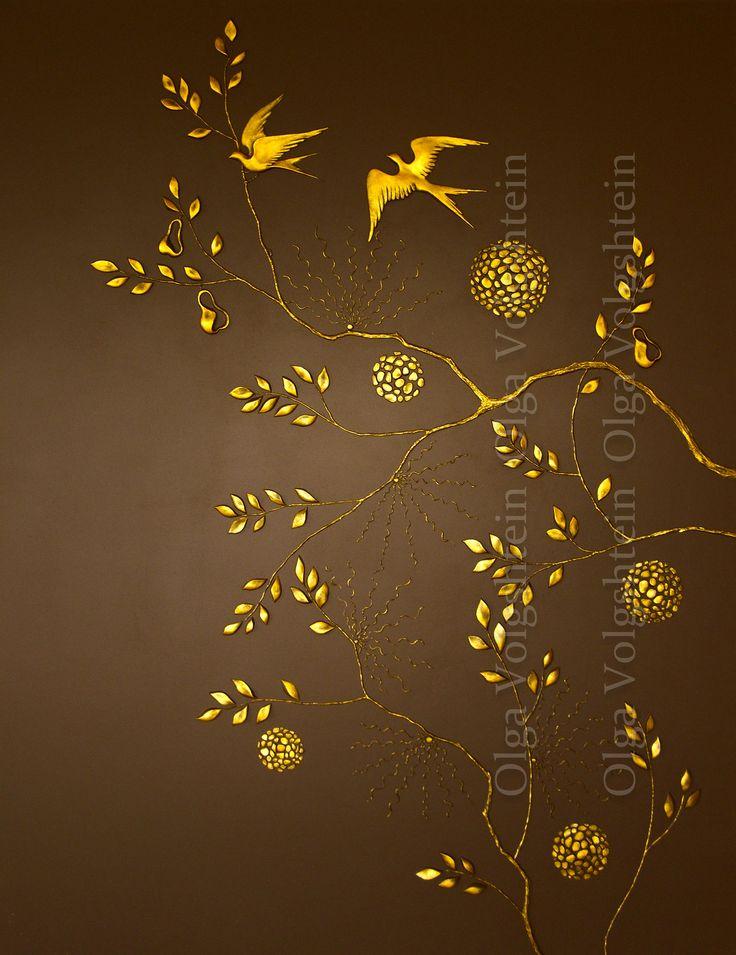 """""""Цветы и птицы"""" - оформление стены под ТВ"""