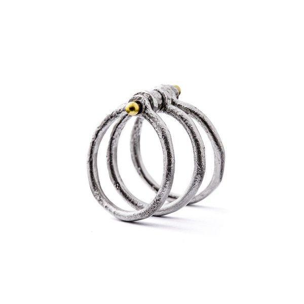 3 losse zilveren ringen met elkaar verbonden door een geelgouden pen (18 karaat), from the jewellery label JUWEELTJES