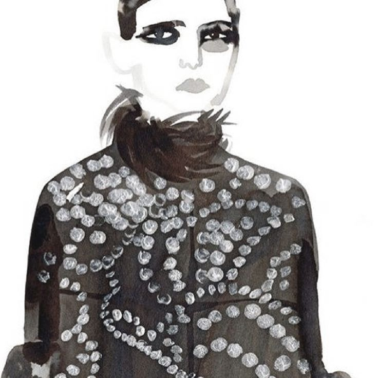 I love this illustration by Gill Button of #Belgian designer Dreis Van Noten's Fall 2016 collection. • • • #FallFashion #DreisVanNoten #GillButton #Illustration #Watercolor #DesignInspiration