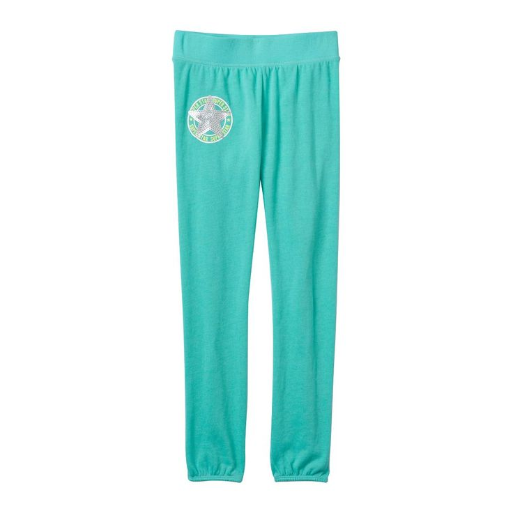 Girls 7-16 SO® French Terry Graphic Jogger Pants, Size: 7-8, Med Green