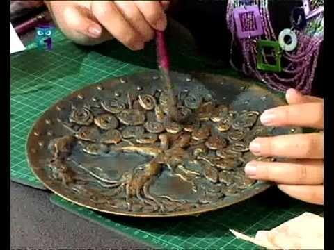 Декупаж. В технике папье-маше создаем из бумаги тарелку с деревом. Масте...
