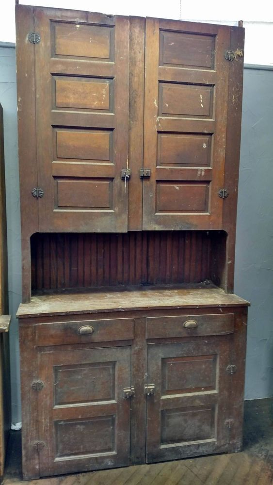 Farmhouse Antique Primitive Early Old Stepback Cupboard Cabinet