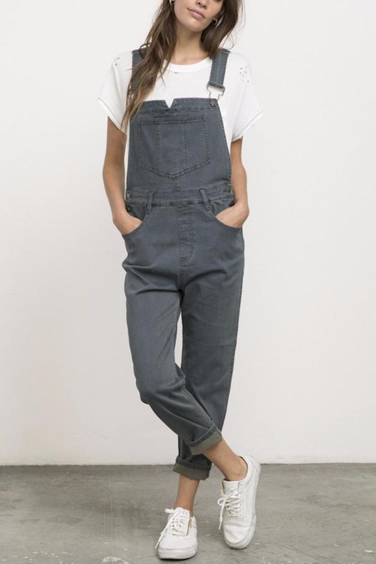 "The RVCA Decklin Denim Overall is a loose fit denim overall with a straight leg and an ankle fit. It has adjustable straps front and back pockets and RVCA shank button closures at the straps and sides.  Inseam: 25 1/2""  Decklin Denim Overalls by RVCA. Clothing - Bottoms Mississippi"