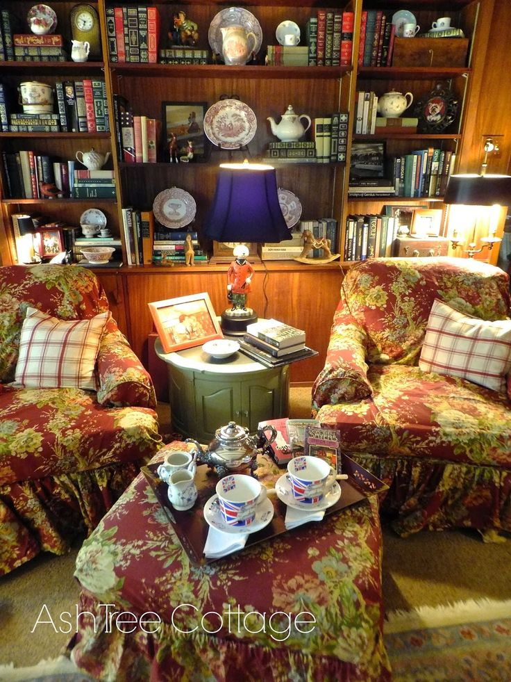 "Ash Tree Cottage: Time For Tea And A Mystery - the ""collected"" look of the bookshelves"