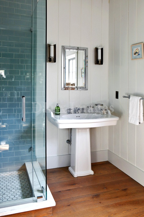 White Bathroom Wood Floor Blue Metro Tiles Bathroom Pinterest Contemporary White
