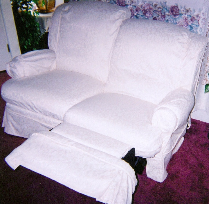 White Reclining Loveseat Slipcover