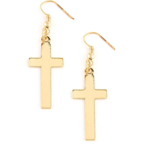 Yoshiko Cross Pendant Earings in Gold (4.79 AUD) ❤ liked on Polyvore featuring jewelry, earrings, accessories, gold, gold earrings, gold jewelry, fish hook earrings, fish hook jewelry and urban jewelry