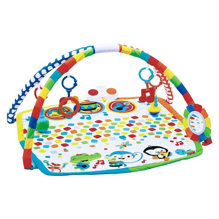 <strong>Fisher Price - Gimnasio Musical</strong>, un divertido y colorido gimnasio con mantita de actividades musical. Incluye 2 arcos de juguetes amovibles con 4 instrumentos musicales diferentes de juguete para colgar en los arcos. Al dar golpecitos con sus pies o sus manos en uno de los tres puntos de activación de la mantita, los niños reciben recompensas en forma de música. Cuando los niños crecen, se remueven los arcos para que sigan disfrutando de los juegos musicales...