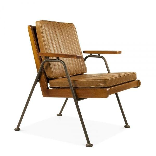 Braun Kunstleder Wickham Holz Lehnstuhl | Industrielle Stühle