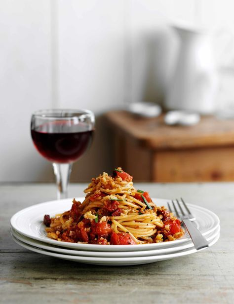 Chorizo Spaghetti Recipe with Pangritata Check out this quick and easy spaghetti recipe with crispy chorizo and crunchy pangritata. Pangritata, sometimes called poor man's parmesan, is a mix of fried breadcrumbs and herbs used add flavour and texture to pasta dishes