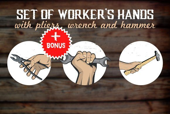 Hands with tools/instruments by Roman Paslavskiy on @creativemarket
