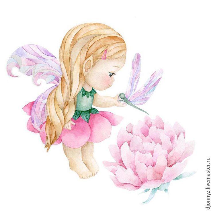 """Купить Акварельная иллюстрация """"Малышка-эльф"""" - комбинированный, акварель, рисунок, иллюстрация, девочка, акварельная картина"""