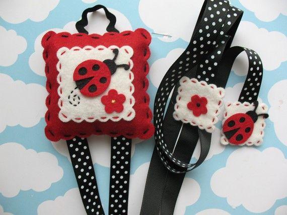 Felt Ladybug Hair Clip Holder by bananapies on Etsy, $13.50