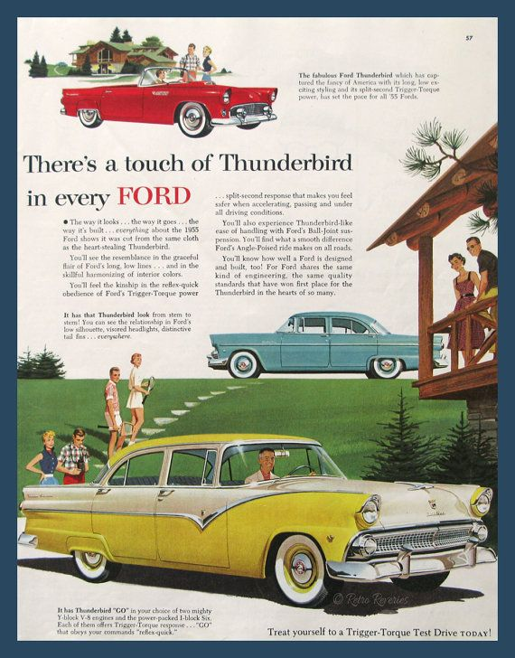 Incroyable 1955 Ford Thunderbird Ad   Ford Fairlane Auto Ad   1950s Country Club   Retro  Car Advertisement