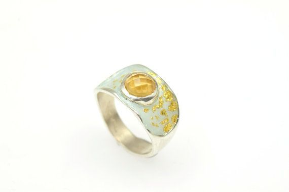 #NovemberBirthstone, #Citrine #Gemstone,Statement Ring, Sterling Silver Ring, Enamel Ring, Christmas Gift, Black Friday, Under 100 €87.90 EUR