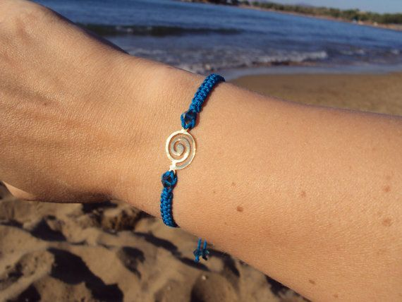 Grecian macramé bracelet in blue with sparkly Swarovski crystals