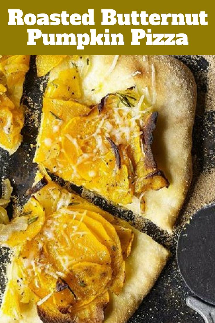 A pizza with roasted butternut pumpkin and parmesan or pecorino cheese. A delicious vegetarian dinner.
