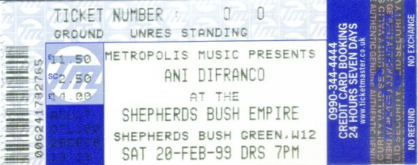 https://flic.kr/p/GgqEZ8 | 19990220AniDifranco | 20 Feb 1999 Ani Difranco Shepherds Bush Empire London