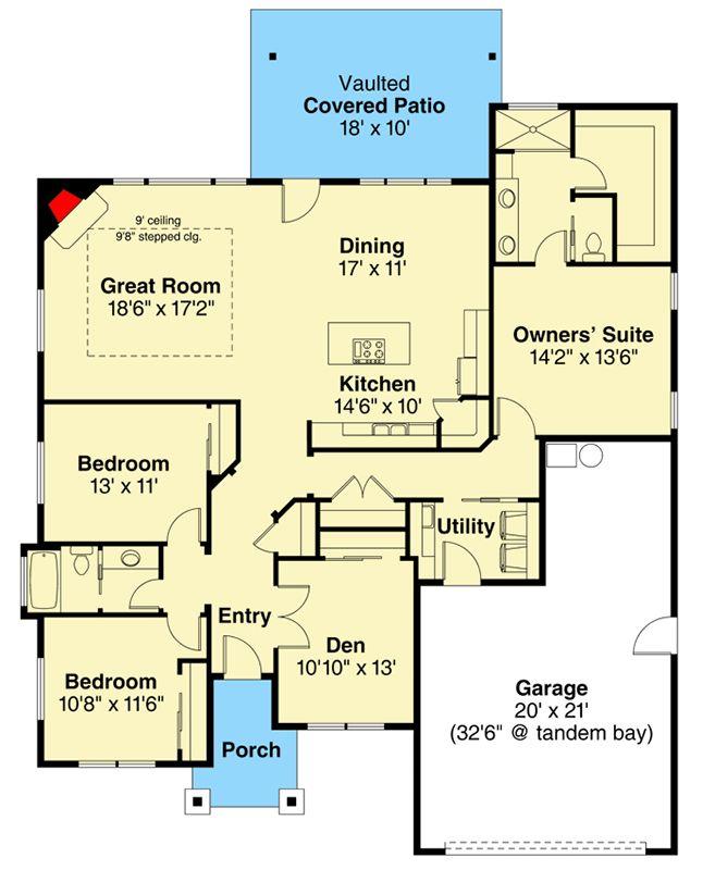 24 best craftsman style images on pinterest floor plans for Open concept craftsman house plans
