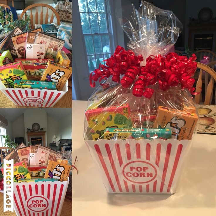 Basket raffle idea!  - 4 $3.49 movies (Walmart) - box of microwave popcorn…