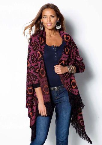 Kardigan s etno motivy a třásněmi #ModinoCZ #fall #autumn #fashion #colours #autumncolours #trendy #stylish #podzimnimoda #moda #styl