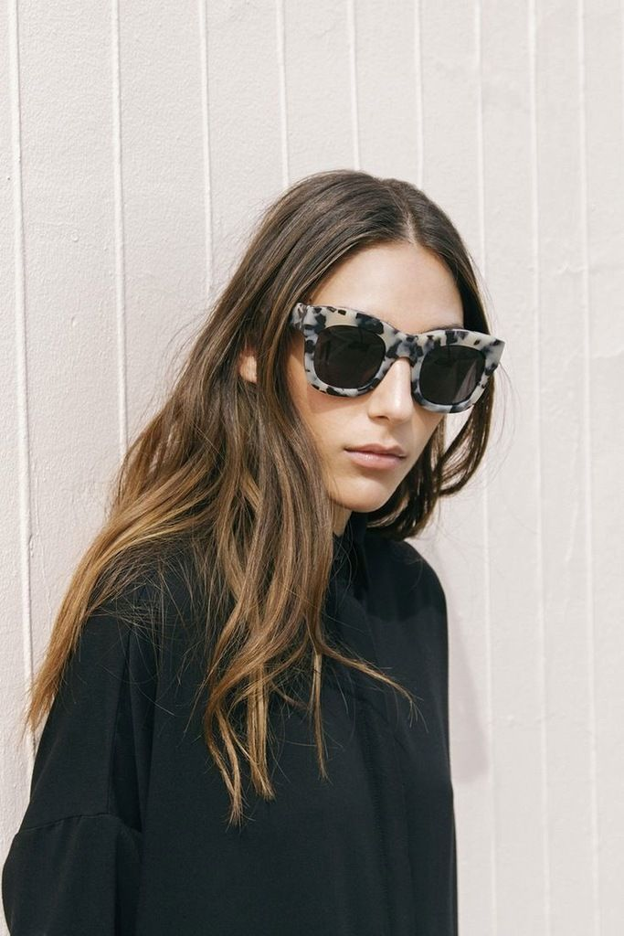 Oversized statement sunglasses, balayage hair & black shirtdress #style #fashion #hairstyle: