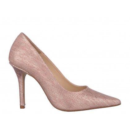 Pantofi EPICA roz, din piele naturala tip sarpe