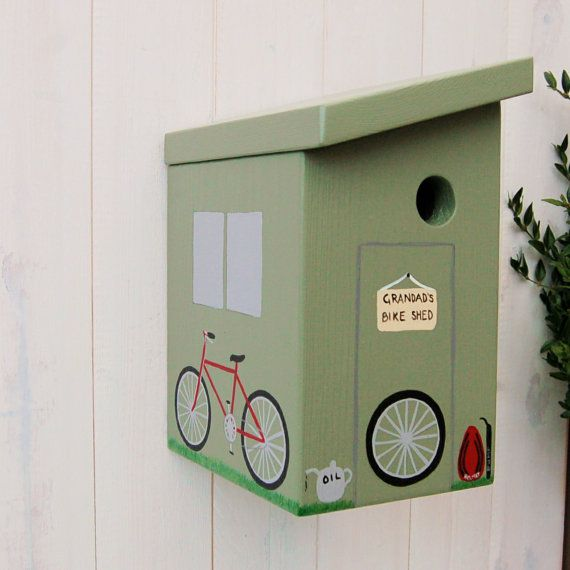 Personalised bird box, bike shed bird house. The perfect garden gift or cycling gift. Your handmade personalised bike shed bird box would make a gorgeous personalised gift for a birthday, retirement, anniversary, and many other special occasions. Whether it's a present for Dad, Mum, Grandad, a neighbour or your best friend, it will certainly look fantastic and be unique talking point in the garden.
