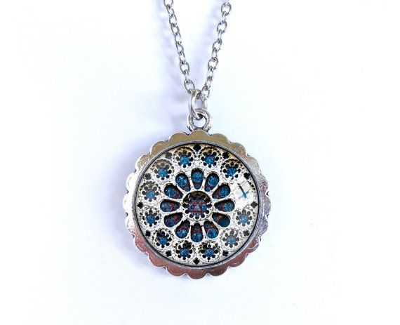 Rose window necklace stained glass picture glass dome by BakGuri