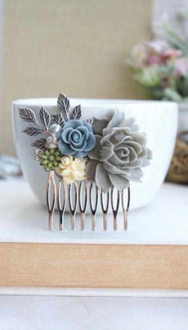 Grey Blue Rose Comb, Grey, Dusty Blue Grey, Forest Green, Ivory Silver Plated Comb, Dusky Blue Grey Comb, Grey Wedding, Silver Flower Comb by Marolsha - https://www.etsy.com/listing/270741129/grey-blue-rose-comb-grey-dusty-blue-grey?ref=shop_home_active_16