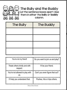 An engaging activity! Decide and then sort: would a bully or a buddy act this way? Great for individual work or use it in a center.