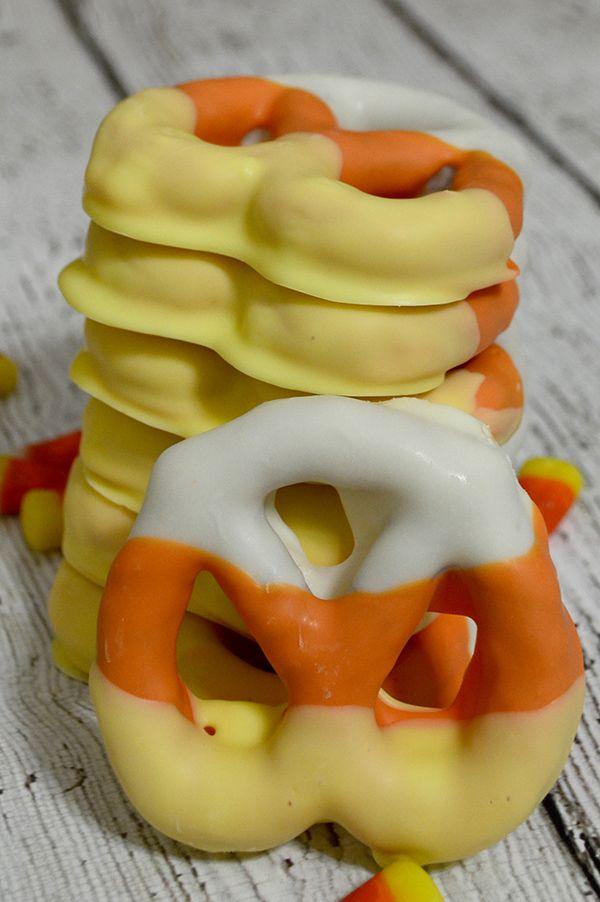 Candy Corn Pretzels~Super Easy Harvest Recipe