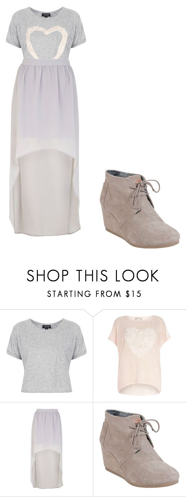 """violetta 2"" by maria-look ❤ liked on Polyvore featuring Topshop, Voulez Vous, River Island, TOMS, women's clothing, women, female, woman, misses and juniors"