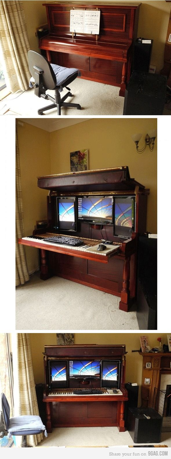 Ingenious! -> An upright piano converted into a 3 screen computer desk when opened. #furniture