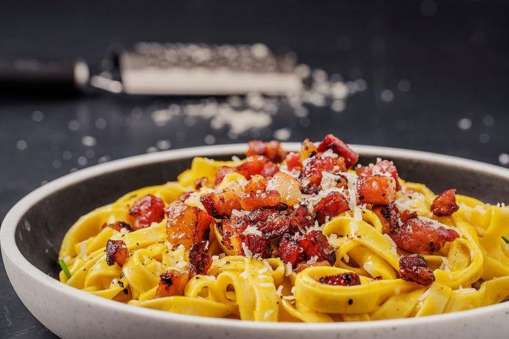Helt autentisk pasta carbonara.