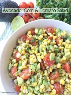 This Avocado Corn and Tomato Salad is an easy, light, and refreshing salad! It's so perfect for a light lunch, BBQ, potluck, or as a side for dinner!