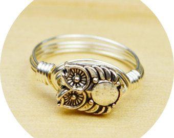 Gufo anello - riempito di filo avvolto anello in argento Sterling con rustico tono argento gufo tallone - qualsiasi dimensione-misura 4, 5, 6, 7, 8, 9, 10, 11, 12, 13, 14