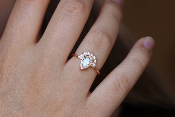 One Carat Pear Diamond Engagement Ring Pear Diamond by artemer