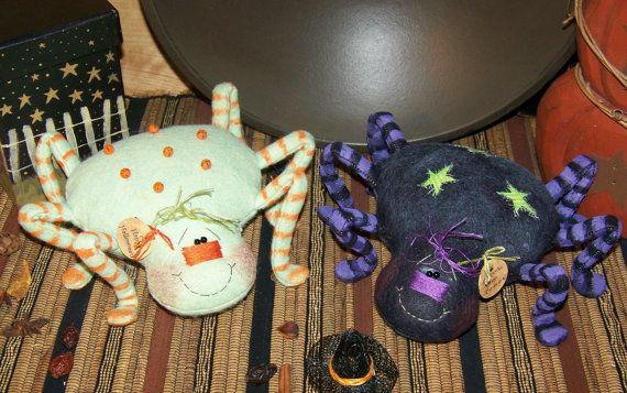 Arte popular primitivo Halloween arañas por PrimitivelyPrecious