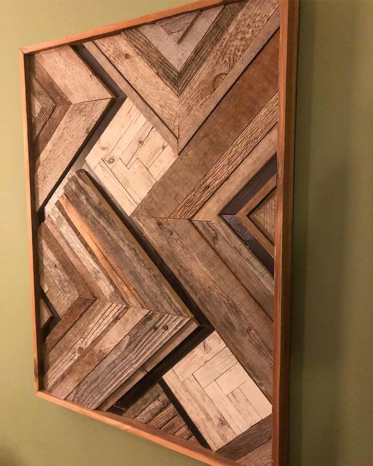 Abstract rustic woodcraft mosaic in 2020 wood wall art