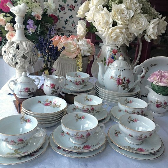 Complete Moss Rose Tea Set for 6 with Lipper and Mann Musical