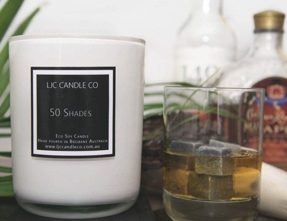 Large 50 SHADES Soy Candle. 90 Hour burn time. by LJCCandleCo