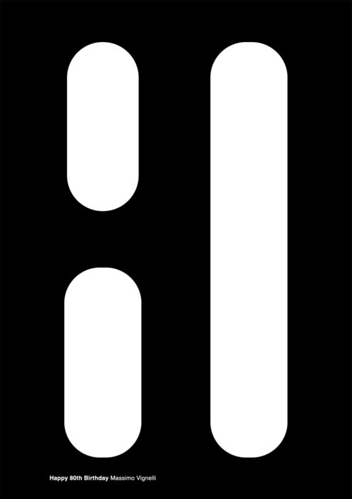 80th birthday card (for Massimo Vignelli) Gahhhh i always see the white and not the black.