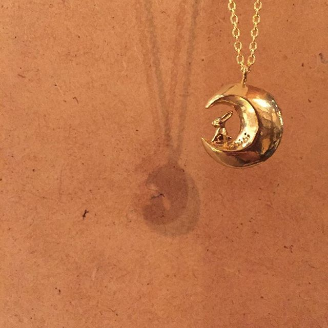 """Live by the sun, love by the moon. Moon Rabbit Necklace by Chibi Jewels  12"""" gold chain. #tothemoonandback"""