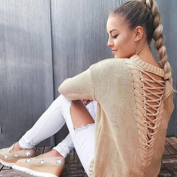 Loose Sweater Sexy Hollow Out Back Pullover